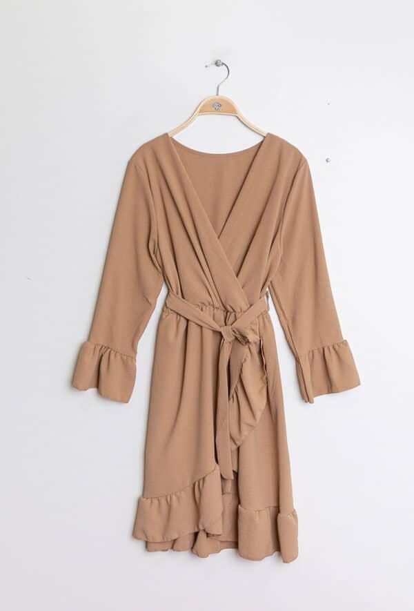 kaia robe cache coeur unie2 camel 1