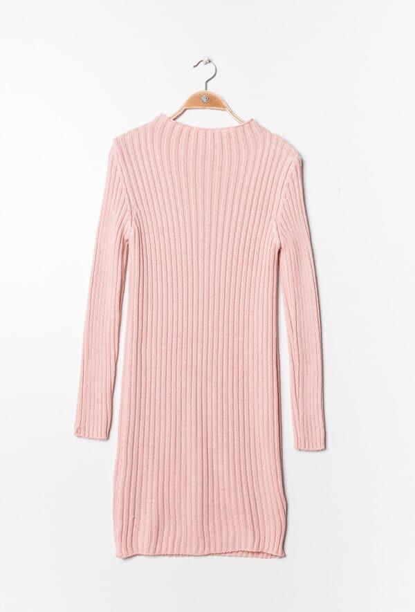 estee brown robe en maille cotelee rose shadow 1