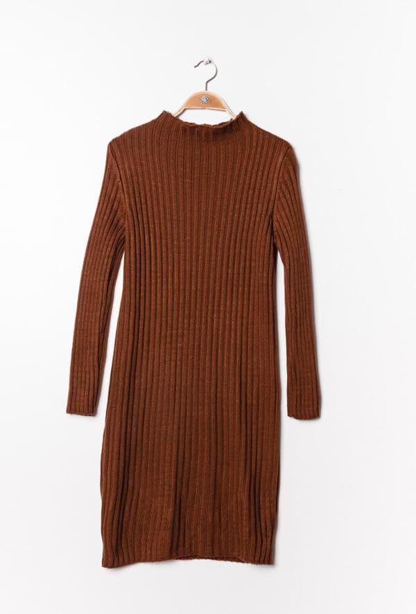 estee brown robe en maille cotelee terracotta 1